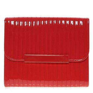 Ted Baker red enamel quilted flap iPad case/clutch